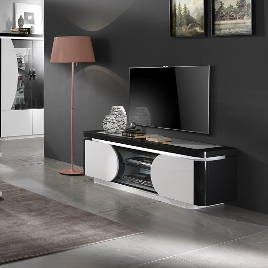 Clarus TV Stand In White And Black Gloss Lacquer With LED