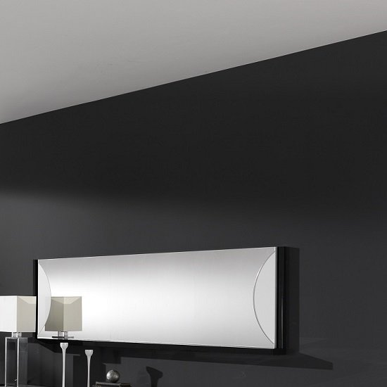 Clarus Wall Mirror Rectangular In White And Black Gloss Lacquer