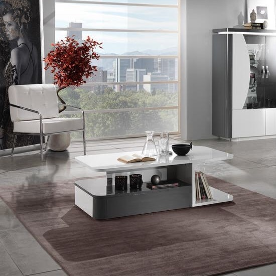 Clarus Coffee Table Rectangular In White And Grey Gloss Lacquer_2