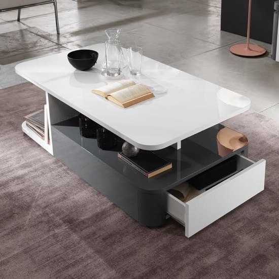 Clarus Coffee Table Rectangular In White And Grey Gloss Lacquer