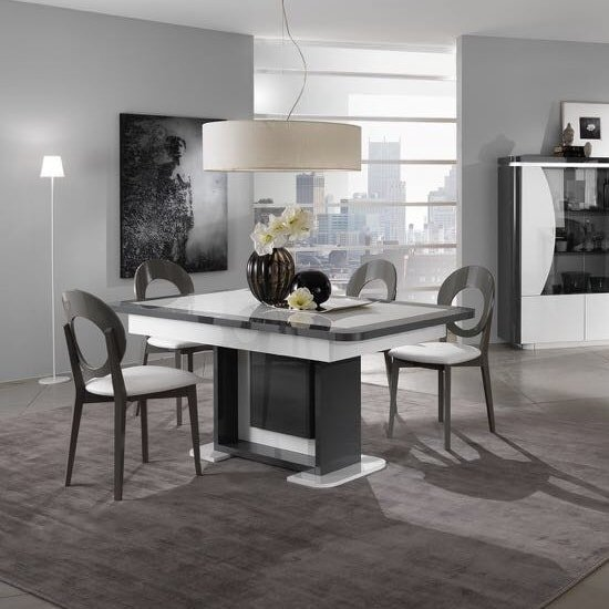 clarus extendable dining table in white and grey gloss. Black Bedroom Furniture Sets. Home Design Ideas