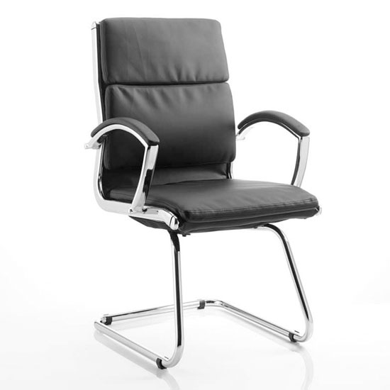 Classic Leather Office Visitor Chair In Black With Arms