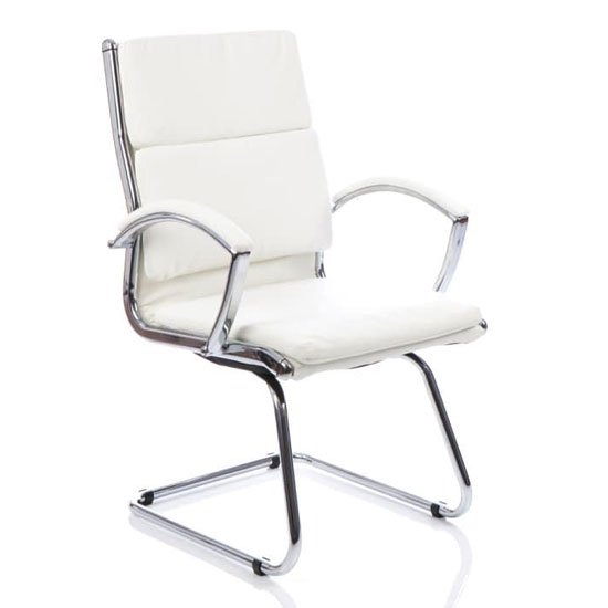 Classic Leather Office Visitor Chair In White With Arms