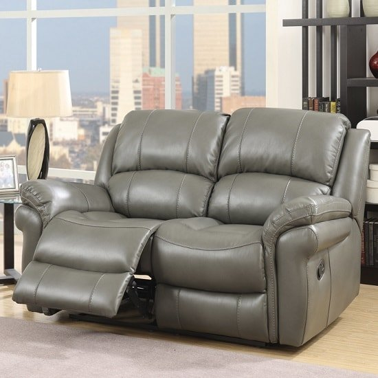 Claton Recliner 2 Seater Sofa In Grey Faux Leather