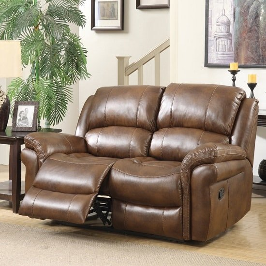 Claton Recliner 2 Seater Sofa In Tan Faux Leather