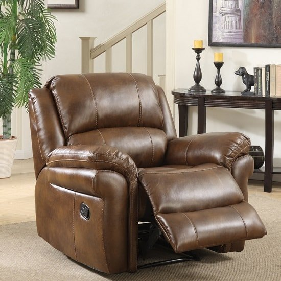 Image of Claton Recliner Sofa Chair In Tan Faux Leather