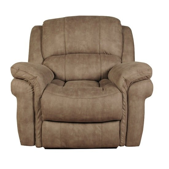 Claton Recliner Sofa Chair In Taupe Leather Look Fabric