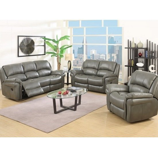 Claton Recliner Sofa Suite In Grey Faux Leather