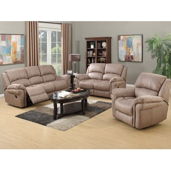 Claton Recliner Sofa Suite In Taupe Leather Look Fabric