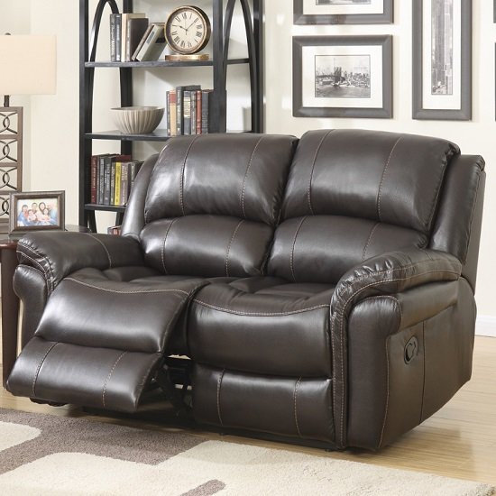 2 Seater Leather Sofa Brown: Claton Recliner 2 Seater Sofa In Brown Faux Leather