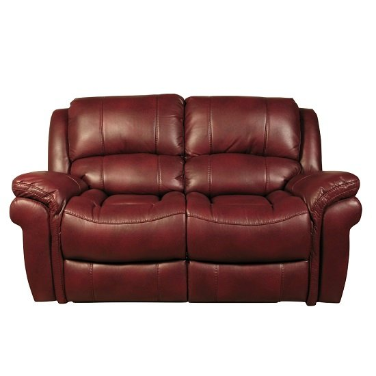 Claton Recliner 2 Seater Sofa In Burgundy Faux Leather