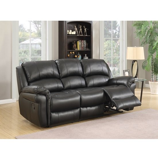 Claton Recliner 3 Seater Sofa In Black Faux Leather