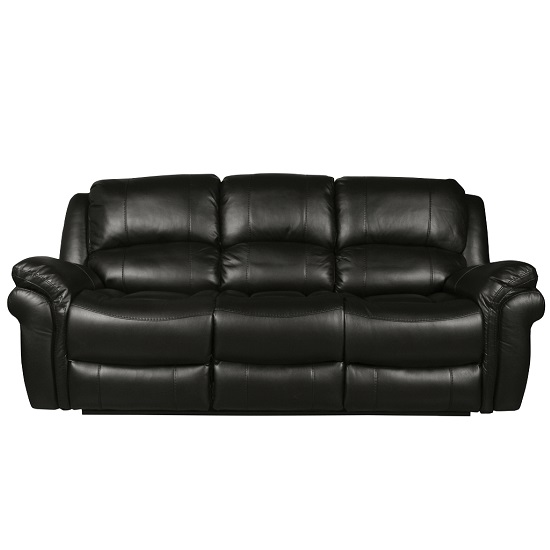 Claton Recliner 3 Seater Sofa In Black Faux Leather_2