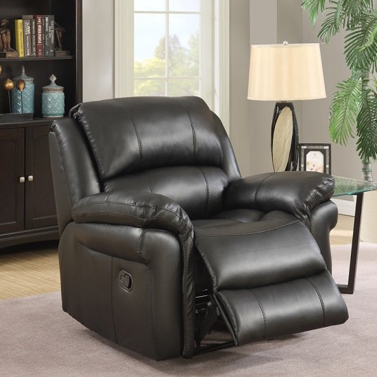 Claton Recliner Sofa Chair In Black Faux Leather