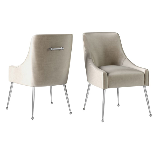 Claudia Mink Velvet Fabric Dining Chairs In Pair