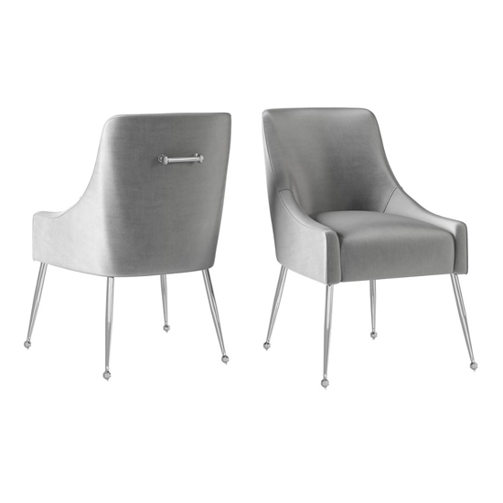 Claudia Silver Grey Velvet Fabric Dining Chairs In Pair