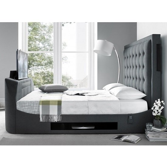 Clause Modern Fabric King Size TV Bed In Dark Grey