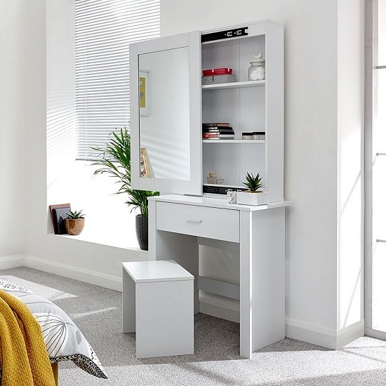 Clavier Wooden Dressing Table Set In White