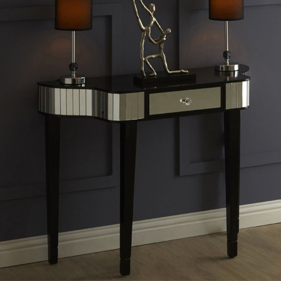 Clavona Mirrored Console Table In Black_1