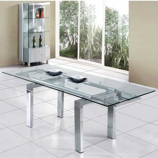 Jessi Clear Extendable Dining Table Only
