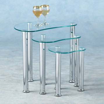 Katerina clear glass nest of 3 tables 4369 furniture in katerina clear glass nest of 3 tables watchthetrailerfo