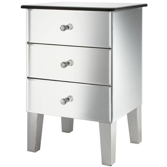 Read more about Solitaire mirrored bedside cabinet with 3 drawers