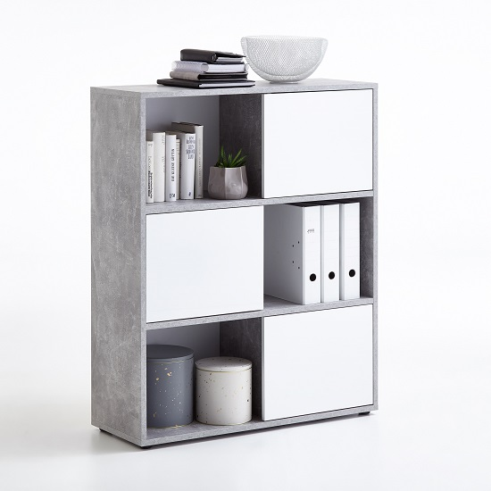 Cleator Shelving Unit In White High Gloss And Light Atelier