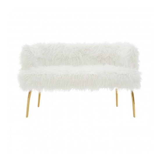 View Clemency 2 seater natural fur effect sofa in white