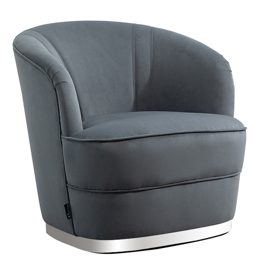 Cleo Fabric Upholstered Accent Chair In Grey_3