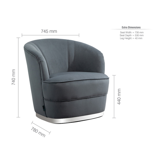 Cleo Fabric Upholstered Accent Chair In Grey_5