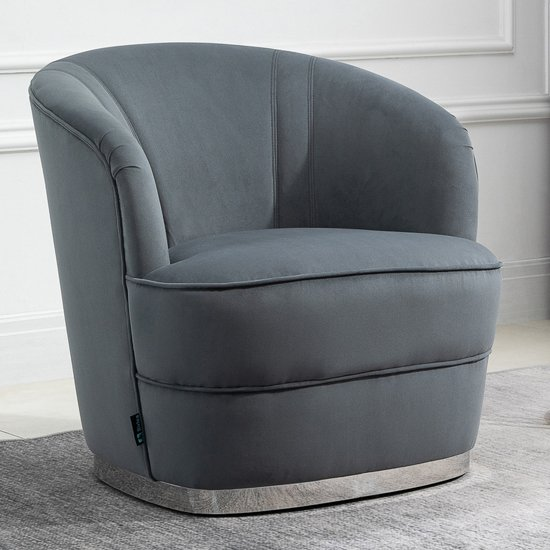 Cleo Fabric Upholstered Accent Chair In Grey