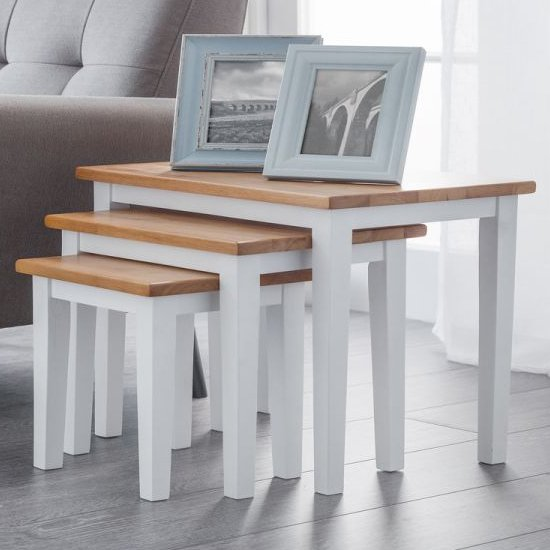 Cleo Set Of 3 Wooden Nesting Tables In White And Oak