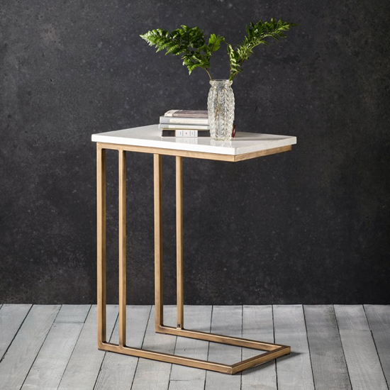 Cleo Supper Side Table In Bronze With Marble Top_1