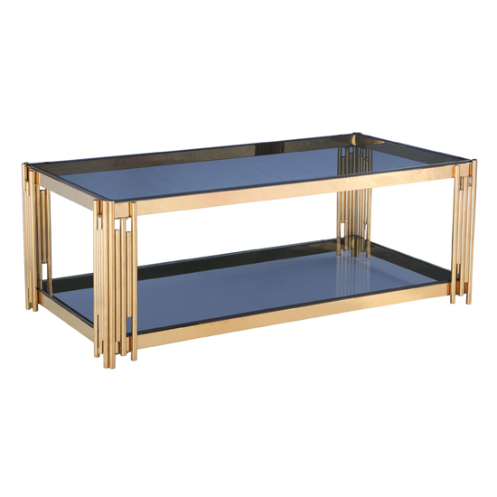 Cleveland Grey Glass Coffee Table With Gold Metal Legs