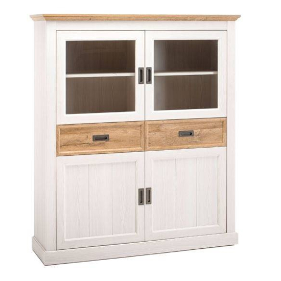 Cleveland Large Display Cabinet In White And Wild Oak_1
