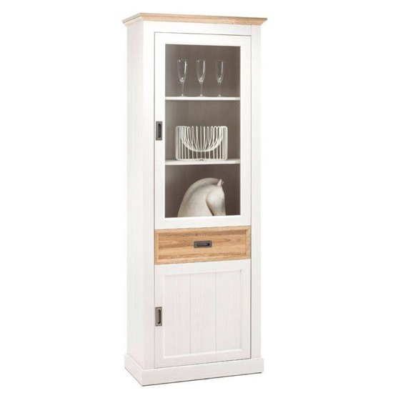 Cleveland Tall Display Cabinet In White And Wild Oak