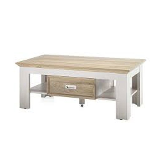 Cleveland Wooden Coffee Table In White And Wild Oak_1