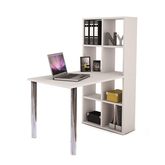 Cleveland Computer Desk In White With Bookcase_1