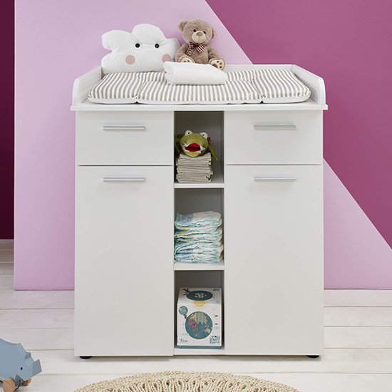 Clevo Baby Room Wooden Furniture Set In White_3