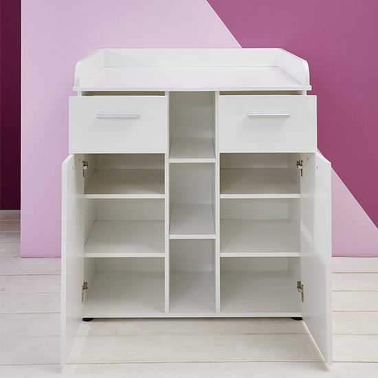 Clevo Baby Room Wooden Furniture Set In White_4