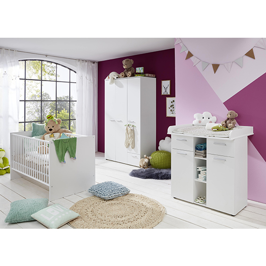 Clevo Baby Room Wooden Furniture Set In White_1