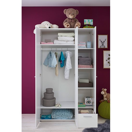 Clevo Kids Room 2 Doors 1 Drawer Wooden Wardrobe In White_2