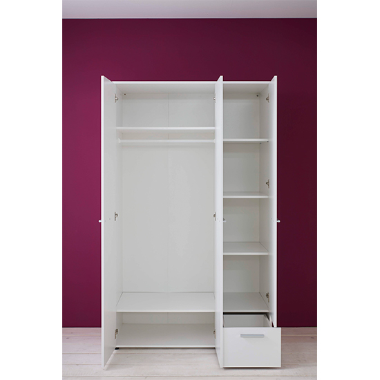 Clevo Kids Room 2 Doors 1 Drawer Wooden Wardrobe In White_3