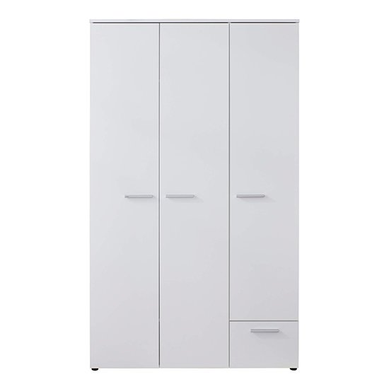 Clevo Kids Room 2 Doors 1 Drawer Wooden Wardrobe In White_4
