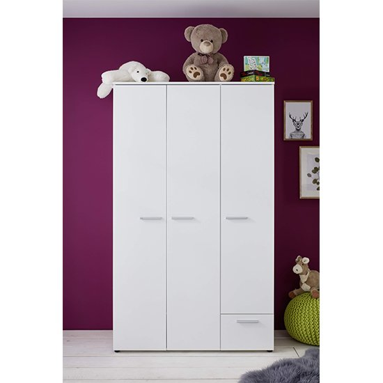 Clevo Kids Room 2 Doors 1 Drawer Wooden Wardrobe In White_1