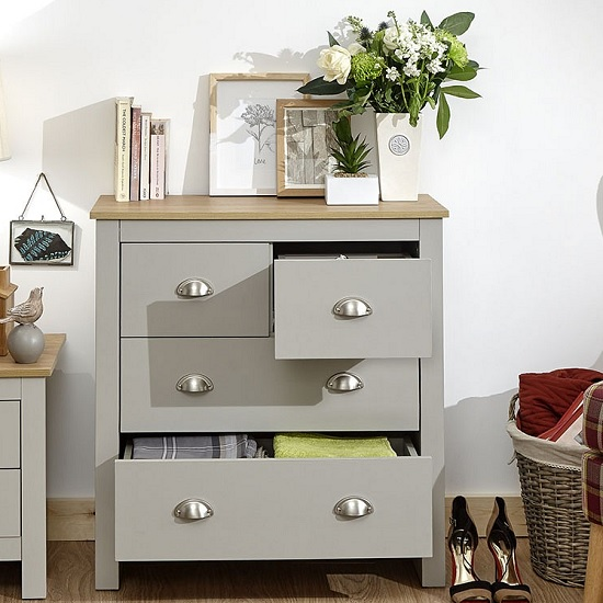 Click Wooden Chest Of Drawers In Grey And Oak With 4 Drawers_2