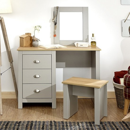 Click Wooden Dressing Table Set In Grey And Oak