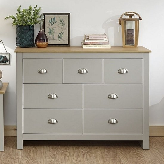 Click Wooden Chest Of Drawers Wide In Grey And Oak