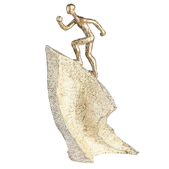 Climber Poly Design Sculpture In Antique Gold And Champagne