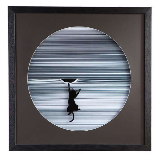 Climbing Cat Picture Glass Wall Art In White Wooden Frame